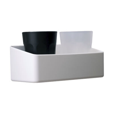 Bathroom shelf white + 2 glasses
